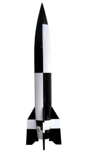 """+/"""" Solid Steel on Wooden Base V-2 Rocket Model /""""Detailed Aggregat 4 A4, V2"""