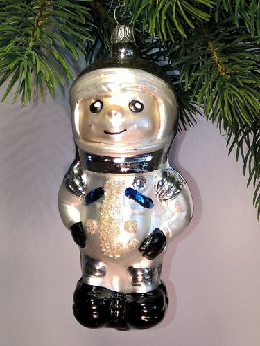 Thuringian christmas tree glass decoration - Astronaut silver