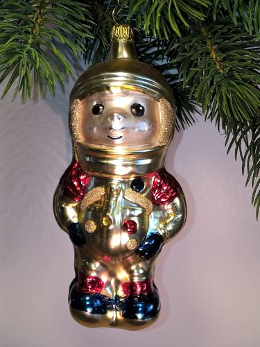 Thuringian christmas tree glass decoration - Astronaut gold