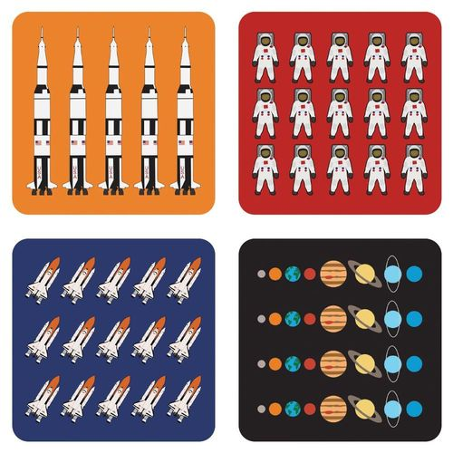 Design set – 4 space cork coaster space travel motifs
