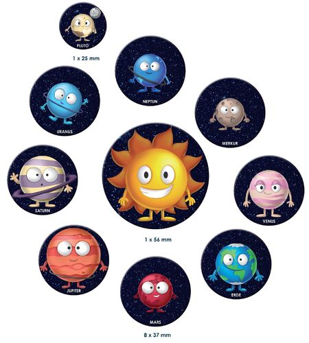 Ten 2D magnets set – Kids comic planets of the Solar system