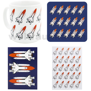 Design set space flight - cork coasters, notebooks, coffee cups