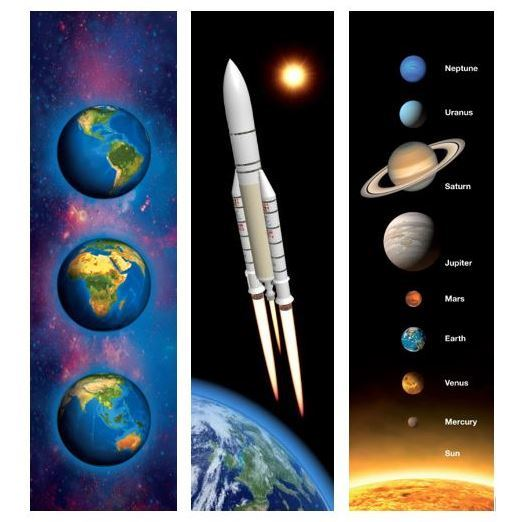 3D postcards, bookmarks, rulers and magnets on space and space flight