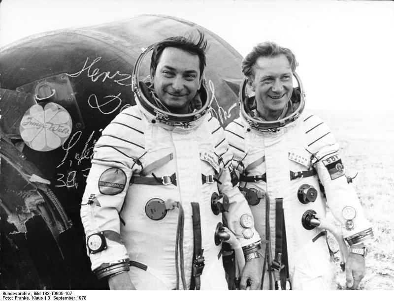 Valery Bykowski and Sigmund Jähn after landing back on Earth, September 1978