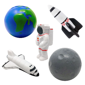 Stress Toys - Earth, Moon, Rocket, Space Shuttle, Cosmonaut/Astronaut, - Soft rubber/synthetics